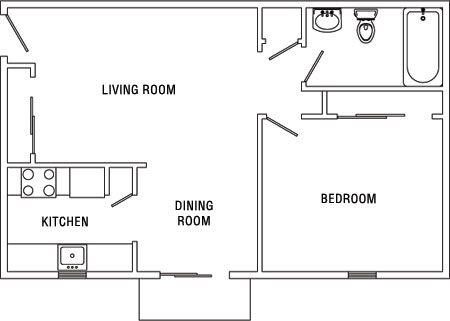 Bedroom on Diagram Of A One Bedroom Apartment At Surrey Gardens Apartments